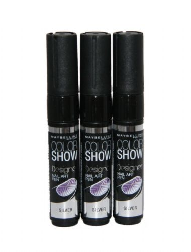 3 x Maybelline Colour Show Designer Nail Art Pen | Colour Silver | Wholesale |